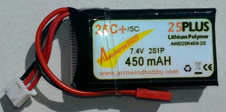 AH 450mAh-7.4V 25C Lipo Battery