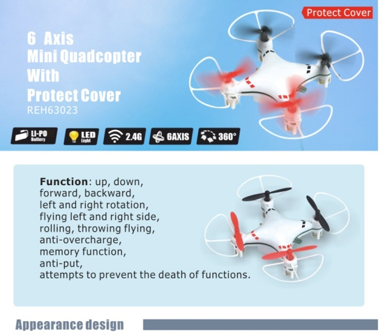 HC 6-Axis Aerobatic Mini Quadcopter ARF (4 pcs)
