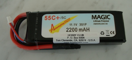 AH 2200mAh 3S 55C Lipo Battery