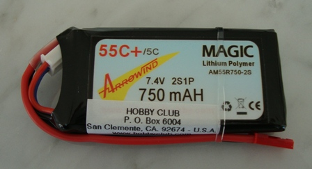 AH 750mAh 2S 55C Lipo Battery