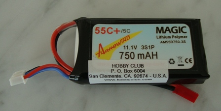 AH 750mAh 3S 55C Lipo Battery