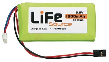 LiFe 6.6V 2S 1900mAh Tx/Rx Battery Pack