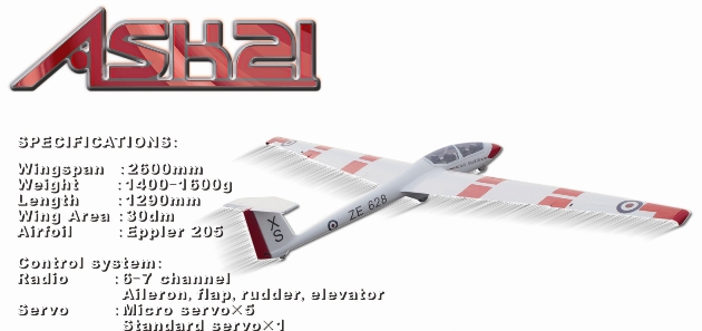 HC-FF ASK 21 2.6m ARF Semi-Scale Glider
