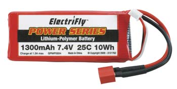 ElectriFly 1300mAh-7.4V 25C Lipo Battery Pack